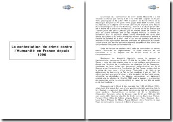 La contestation de crime contre l'humanité en France depuis 1990