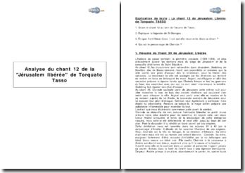 Analyse du chant 12 de la Jérusalem libérée de Torquato Tasso