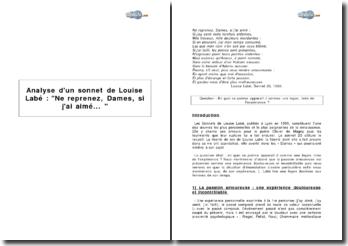 Analyse d'un sonnet de Louise Labé : Ne reprenez, Dames, si j'ai aimé...
