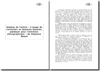 Analyse de l'article « L'usage de l'entretien en sciences sociales, plaidoyer pour l'entretien ethnographique » de Stéphane Beaud