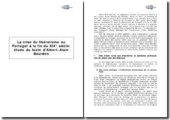 La crise du libéralisme au Portugal à la fin du XIX siècle : étude du texte d'Albert-Alain Bourdon