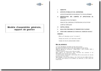 Modèle d'assemblée générale, rapport de gestion