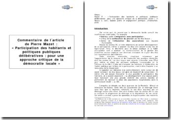 Article de Pierre Mazet : « Participation des habitants et politiques publiques délibératives : pour une approche critique de la démocratie locale »