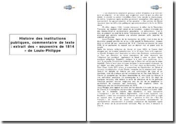 Histoire des institutions publiques : extrait des « souvenirs de 1814 » de Louis-Philippe