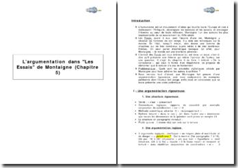 L'argumentation dans Les Essais de Montaigne (Chapitre 5)