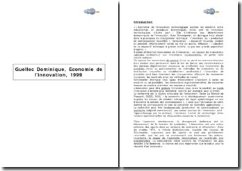 Guellec Dominique, Economie de l'innovation, 1999