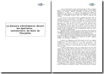 Le discours d'Archidamos devant les Spartiates, Histoire de la Guerre du Péloponnèse de Thucydide