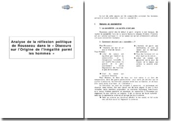 Analyse de la réflexion politique de Rousseau dans le « Discours sur l'Origine de l'Inégalité parmi les hommes »