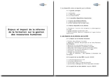 Enjeux et impact de la réforme de la formation sur la gestion des ressources humaines