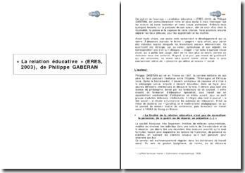 « La relation éducative » (ERES, 2003), de Philippe GABERAN
