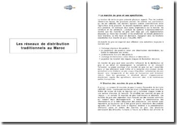 Les réseaux de distribution traditionnels au Maroc