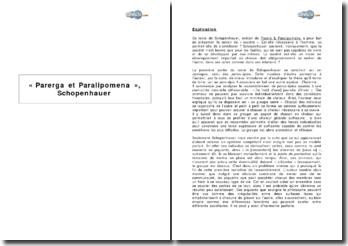 « Parerga et Paralipomena », Schopenhauer