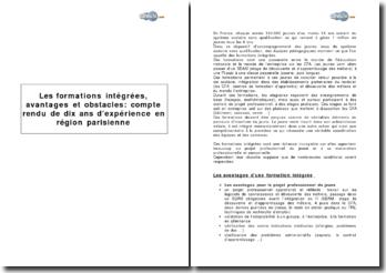 Les formations intégrées, avantages et obstacles : compte rendu de dix ans d'expérience en région parisienne