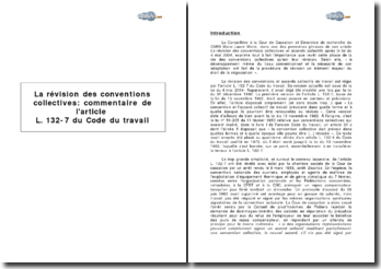 La révision des conventions collectives : commentaire de l'article L. 132-7 du Code du travail