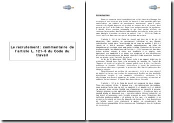 Le recrutement : article L. 121-6 du Code du travail