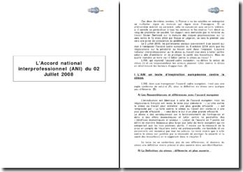 L' Accord national interprofessionnel (ANI) du 2 juillet 2008