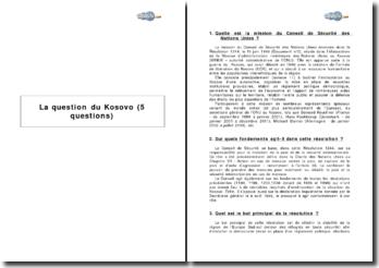 La question du Kosovo (5 questions)