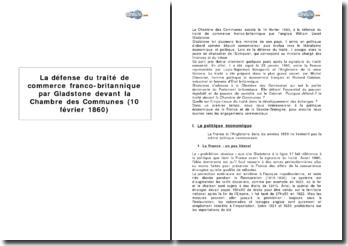 La défense du traité de commerce franco-britannique par Gladstone devant la Chambre des Communes (10 février 1860)