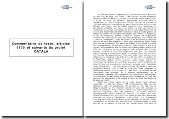 Articles 1105 et suivants du projet CATALA de réforme du droit des obligations