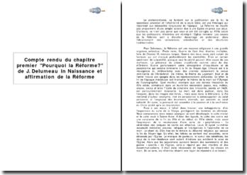 Chapitre premier Pourquoi la Réforme? de J. Delumeau in Naissance et affirmation de la Réforme