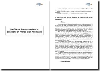 Impôts sur les successions et donations en France et en Allemagne