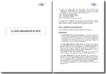 Le droit administratif en fiches