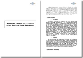 Analyse du chapitre sur La mort de Julien dans Une vie de Maupassant
