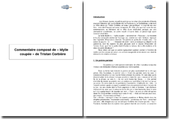 Etude de « Idylle coupée » de Tristan Corbière