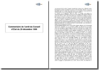 Conseil d'Etat du 29 décembre 1999 - responsabilité de l'administration vis-à-vis des activités de lutte contre l'incendie
