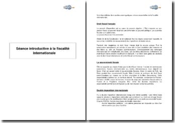 Introduction à la fiscalité internationale