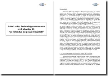 John Locke, Traité du gouvernement civil : chapitre XI, De l'étendue du pouvoir législatif