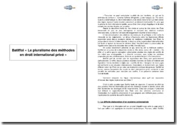 Batiffol, « Le pluralisme des méthodes en droit international privé »