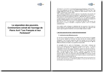 La séparation des pouvoirs - extrait de l'ouvrage de Pierre Avril Les Français et leur Parlement