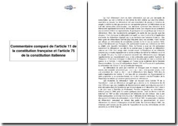 Comparaison de l'article 11 de la constitution française et de l'article 75 de la constitution italienne