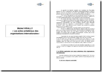 Michel Virally, « Les actes unilatéraux des organisations internationales »
