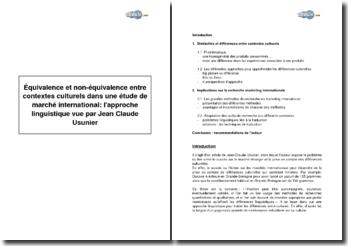 Equivalence et non-équivalence entre contextes culturels dans une étude de marché international : l'approche linguistique vue par Jean Claude Usunier