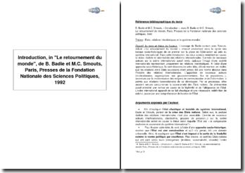Introduction, in Le retournement du monde, de B.Badie et M.C. Smouts, 1992