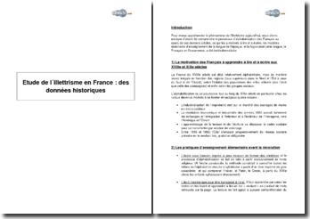 Etude de l'illettrisme en France : des données historiques