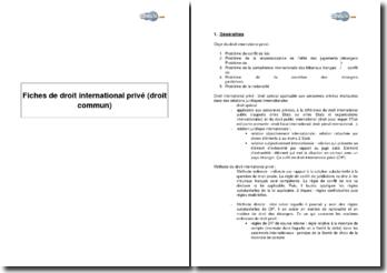 Synthèse de droit international privé (droit commun)