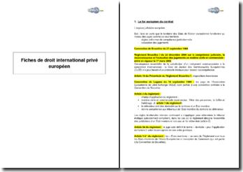 Synthèse de droit international privé européen