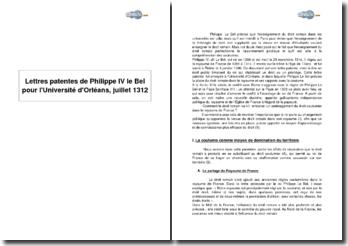 Lettres patentes de Philippe IV le Bel pour l'Université d'Orléans, juillet 1312