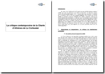 La critique contemporaine de la Charte d'Athènes de Le Corbusier