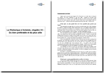 La Rhétorique d'Aristote, chapitre VII : Du bien préférable et du plus utile