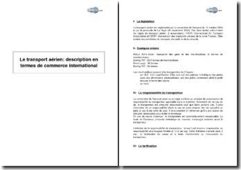 Le transport aérien: description en termes de commerce international