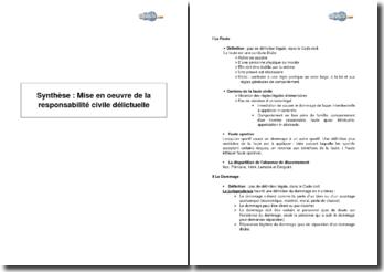 Synthèse : mise en oeuvre de la responsabilité civile délictuelle