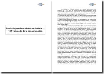 Les trois premiers alinéas de l'article L. 132-1 du code de la consommation : les clauses abusives