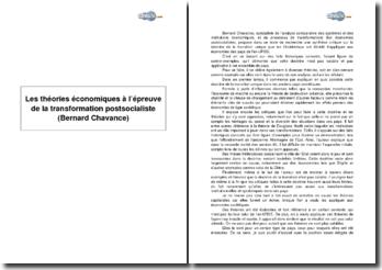 Les théories économiques à l'épreuve de la transformation postsocialiste de Bernard Chavance