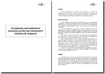 L'économie évolutionnaire et institutionnelle est-elle le nouveau courant dominant ? de Geoffrey M. Hodgson