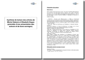 Synthèse de lecture des articles de Michel Dabené et Elisabeth Dugue - la notion de compétence