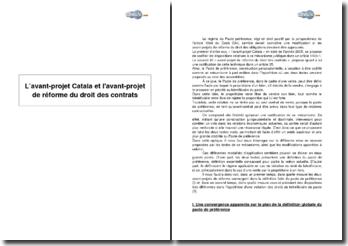 L'avant-projet Catala et l'avant-projet de réforme du droit des contrats